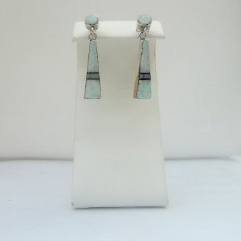 Opal Earrings with Jet inlay